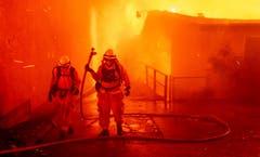 Feuerwehrmänner- und frauen im Einsatz. (AP Photo/Noah Berger)