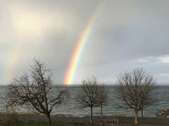 Ein Regenbogen über dem Bodensee in Horn. (Bild: Jiri Konopka)