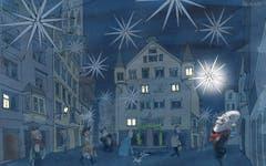 Einer Stern.Die Stadt St.Gallen muss den Gürtel enger schnallen. Aufgrund der Senkung des Steuerfusses, die das Parlament diese Woche beschlossen hat, droht 2019 ein Minus von 13 Millionen Franken. Am besten beginnt Stadtpräsident Thomas Scheitlin sofort zu sparen – etwa beim Stromverbrauch der Weihnachtsbeleuchtung «Aller Stern». (Illustration: Corinne Bromundt - 15. Dezember 2018)