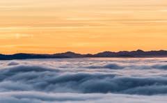 Abendrot über dem Nebelmeer (Bild: Daniel Hegglin (Zugerberg, 26. Dezember 2018))