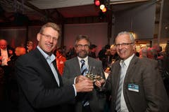 ...und natürlich auch an der Zuger Messe (hier 2009, mit dem Regierungsrat Heinz Tännler). (Bild: Daniel Frischherz)