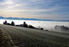 Landschaft über dem Sempachersee, gesehen in Diegenstal. (Bild: Josef Habermacher, 28. Dezember 2018)