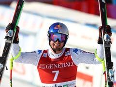 Dominik Paris jubelt im Ziel von Bormio - dritter Abfahrtssieg nach 2012 und letztem Winter (Bild: Marco Trovati / AP)