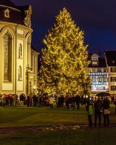 Der Christbaum auf dem Klosterplatz in St. Gallen am ersten Advent.(Bild: Daniel Widmer)