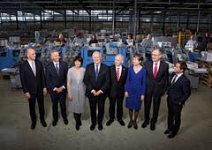 2016 (von links): Alain Berset, Didier Burkhalter, Doris Leuthard, Bundespräsident Johann Schneider-Ammann, Ueli Maurer, Simonetta Sommaruga, Guy Parmelin, Bundeskanzler Walter Thurnherr.