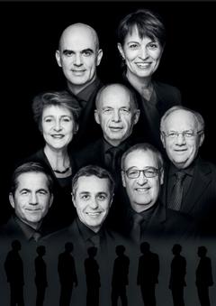 2017, Bild 2 (von oben rechts nach unten links): Bundespräsidentin Doris Leuthard, Alain Berset, Ueli Maurer, Simonetta Sommaruga, Johann Schneider-Ammann, Guy Parmelin, Ignazio Cassis, Bundeskanzler Walter Thurnherr.