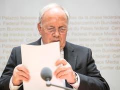 Der scheidende Bundesrat Johann Schneider-Ammann. (Bild: KEYSTONE/PETER SCHNEIDER)
