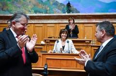 Die abtretende Bundesrätin Doris Leuthard bei ihrer Verabschiedung im Nationalratssaal. (Bild: KEYSTONE/Anthony Anex)