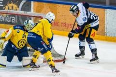 Perttu Lindgren versucht, Zugs Yannick-Lennart Albrecht vom Slot fernzuhalten. (Bild: Alexandra Wey/Keystone (Zug, 8. Dezember 2018))