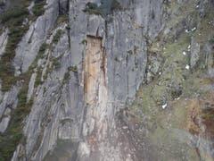 An dieser Wand hat sich der Fels lösgelöst. (Bild: Florian Arnold / Neue UZ)
