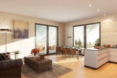 Essbereich und Küche im Haus Gemse. (Bild: Visualisierung PD)