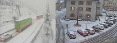 Vor dem Gotthard staut sich der Verkehr wegen des Schneefalls. Und in Altdorf hat der Schnee auf den Strassen angesetzt. (Bild: Webcams)