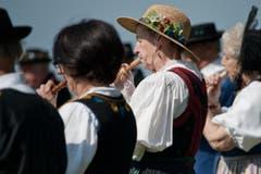 """Auf dem Bild zu sehen sind die """"Alphornfreunde Edelweiss"""". (Bild: Pius Amrein (Neue LZ))"""