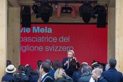 Nicolas Bideau, Chef von Präsenz Schweiz, spricht anlässlich der Eröffnung des Schweizer Pavillions. (Bild: PABLO GIANINAZZI)