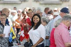 Bundestagfeier auf dem Dorfplatz in Cham. (Bild: Stefan Kaiser / Neue ZZ)