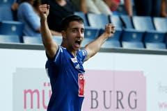 Luzerns Joao Oliveira bejubelt das 2:2 . (Bild: Philipp Schmidli)