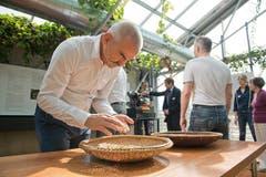 «Wir möchten die Leute mit allen Sinnen begeistern und die verschiedenen Facetten des Kaffees weitergeben. Mein Begriff von Kaffee ist jedenfalls bereits arg durcheinandergeraten», sagte Tropenhaus-Geschäftsführer Pius Marti an der Medienorientierung. Auf dem Bild degustiert Marti Bohnen. (Bild: Dominik Wunderli / Neue LZ)