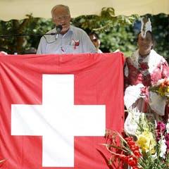 Festansprache von Bundesrat Johann Schneider-Ammann an der 1.-August-Feier. (Bild: Keystone)