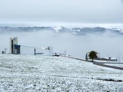 Schnee auf 850 m ü.M. auf dem Steinhuserberg. (Bild: Leserbild Josef Lustenberger)