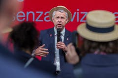 Nicolas Bideau, Chef von Präsenz Schweiz spricht anlässlich der Eröffnung des Schweizer Pavillions. (Bild: PABLO GIANINAZZI)