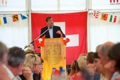 CVP-Nationalrat Gerhard Pfister hält die Ansprache in Oberägeri. (Bild: Christian Herbert Hildebrand / Neue ZZ)