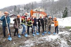 Spatenstich am 26. Januar 2015 für das Feuerwehrlokal und den Werkhof im Eichenspes. (Bild: PD)