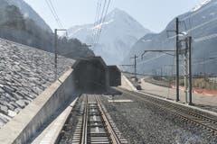 Nordportal des Gotthard-Basistunnels in Erstfeld. (Bild: Keystone / Christian Beutler)
