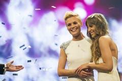 Die Finalistinnen Dominique Rinderknecht und Sara Wicki. (Bild: Keystone)