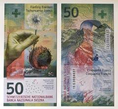 Die neue Schweizer 50-Franken-Note der Schweizerischen Nationalbank, wie sie am 4. April präsentiert wurde. (Bild: Keystone / Lukas Lehmann)