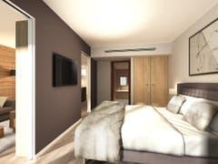 So soll es dereinst aussehen: Ein Blick in die neuen Zimmer des zweiten Sawiris-Hotels in Andermatt. (Bild: PD)