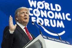 US-Präsident Donald Trump bei seiner Rede am WEF 2018 im Kongresszentrum in Davos. (Bild: Laurent Gillieron/Keystone (Davos, 26. Januar 2018))