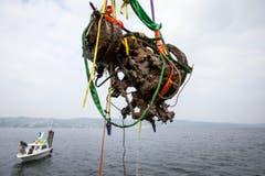 Ein Schiffsmotor fliegt durch die Luft. (Bild: Keystone / Alexandra Wey)