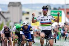 Der Slowake Peter Sagan, Tinkoff trifft als Erster im Ziel ein. (Bild: Keystone / Gian Ehrenzeller)
