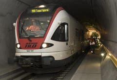 16.12.2013: Der Testzug, 15 Kilometer im Tunnel. (Bild: Keystone)