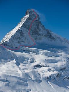 Dani Arnold wählte für den Rekord diese Route auf das Matterhorn. (Bild: Rainer Eder)