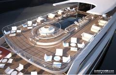 In der Mitte ist der Kompass-Sitz zu sehen, der sich immer nach Norden ausrichtet, egal wie das Schiff fährt. (Bild: Visualisierung judel / vrolijk & co)