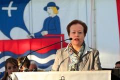 Bundesfeier in Unterägeri: Gemeindeschreiberin Sylvia Derrer hält eine Ansprache. (Bild: Christian Herbert Hildebrand / Neue ZZ)
