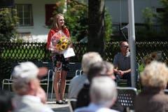 1. August in Engelberg, Sporlerehrung im Kurpark: Lea Fischer, Nordic Engelberg. (Bild: Roger Zbinden)
