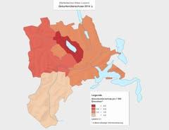 Gebärfreudig: In der Region Sempachersee kommen mehr Menschen zur Welt, als sterben müssen. In keiner anderen Region ist der Geburtenüberschuss so hoch. (Bild: Lustat Statistik Luzern)