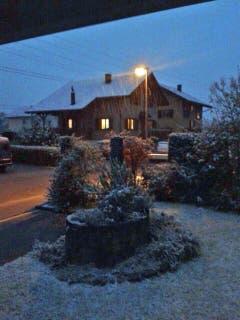 Schneefall in Wangen SZ (Bild: Leserreporter)