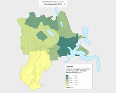 International: Der Anteil der ausländischen Bevölkerung beträgt in der Stadtregion 22.2 Prozent. Am tiefsten ist der Ausländeranteil im Entlebuch (7.5%). (Bild: Lustat Statistik Luzern)