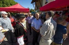 Bundesrat Johann Schneider- Ammann besucht am 1. August den Birkenhof in Sörenberg, um am 1. Augustbrunch teilzunehmen. (Bild: Keystone)