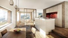 Küche und Essbereich im Haus Fuchs. (Bild: Visualisierung PD)