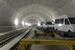 31.10.2013: Eine der Multifunktionsstellen des Basistunnels. (Bild: Keystone)