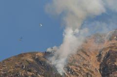 Zur Bekämpfung des Brandes am Bristenstockes sind Helikopter im Einsatz. (Bild: Leserbild / Irene Baumeler - Villiger)