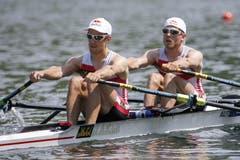Die Österreicher Bernhard Sieber (links) und Paul Sieber (rechts) im Leichtgewichts-Doppelzweier. ( Double Sculls) (Bild: Keystone / Alexandra Wey)
