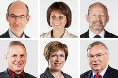 FREIBURG (1/2) - (obere Reihe von links) Jacques Bourgois (bisher), FDP; Christine Bulliard-Marbach (bisher), CVP; Dominique De Buman (bisher), CVP. (untere Reihe von links) Pierre-Andre Page (neu), SVP; Valerie Piller Carrard (bisher), SP; Jean-François Rime (bisher), SVP. (Bild: Keystone / Handout)