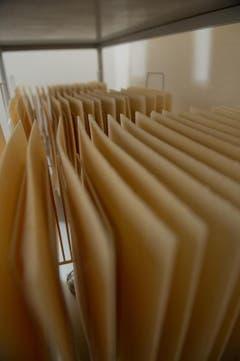 «Rohlinge» im Befeuchtungsraum. Sie dürfen nicht zu trocken sein, damit es beim Stanzen nicht zu Brüchen kommt. (Bild: Pius Amrein / Neue LZ)