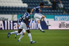 Luzerns Jahmir Hyka (rechts) bejubelt seinen Treffer zum 5:1. (Bild: Philipp Schmidli)