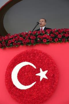 Ansprache zum 91. Jahrestag der Ausrufung der türkischen Republik. (Bild: KEYSTONE)